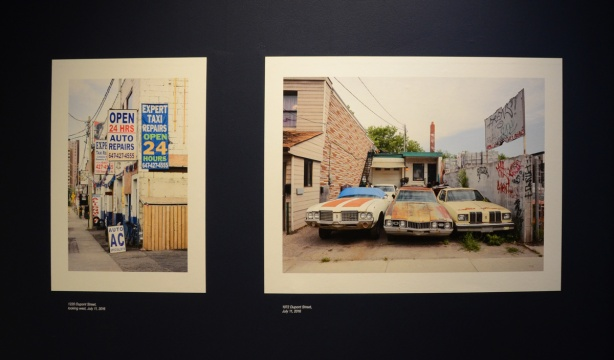 two photos taken on Dupont street, the one on the right is of 3 old cars parked in a driveway. The other is of signs for taxis and car repair shops
