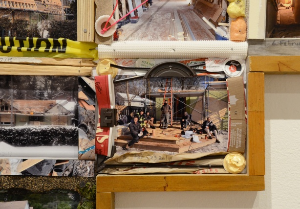 Process, and artwork by Sally Thurlow, of photos in a wood frame and each photo is framed with found objects