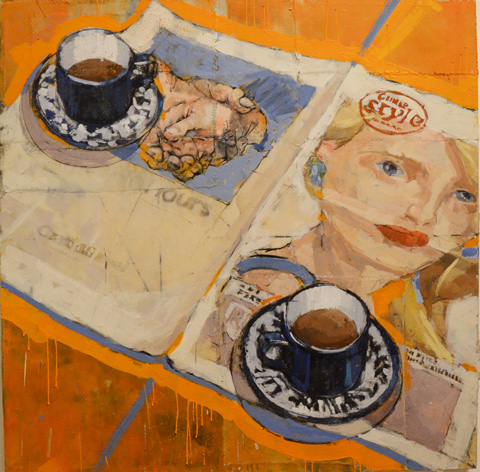 image on a gallery wall, orange table cloth, an open newspaper with illustraion of a woman's head, two partially filled cups of tea, with saucers