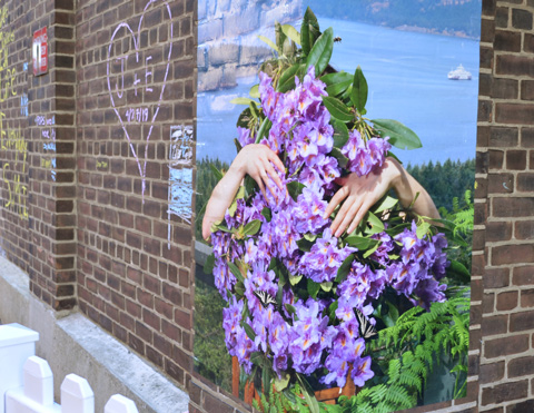 a large poster attached to brick wall, outside, hands coming out of a large bush with purple flowers on it.