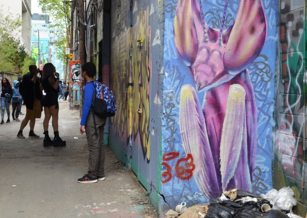 mural of a pink praying mantis on the right and some students in graffiti alley on the left