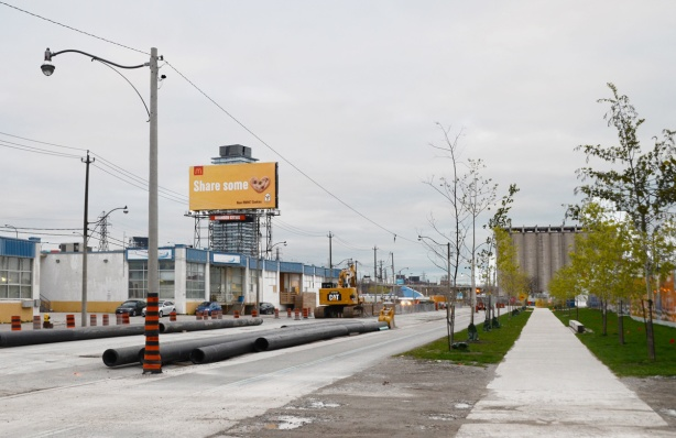 billboard, construction on queens quay east