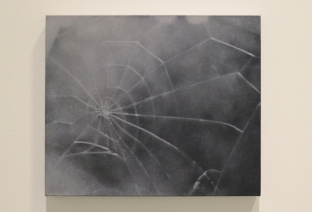 a painting of a spider web in shades of grey
