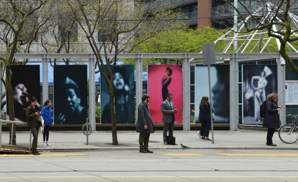 series of large panel photos by Carrie Mae Weems, Slow Fade to Black, each photo is a person or a face that is blurry, done with one colour on black