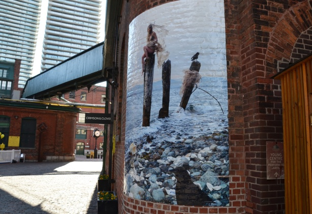 picture on a wall at the Distillery District