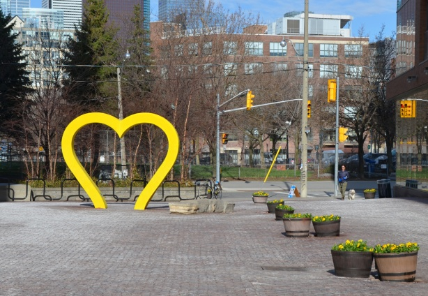 the heart at the Parliament street side of the Distillery District that is usually red has been made yellow