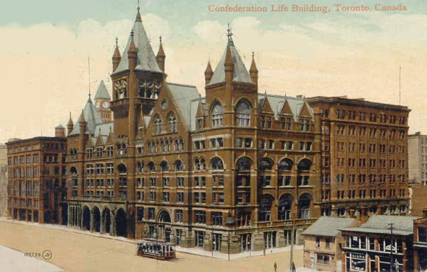 vintage photo from 1912 postcard of the confederation life building at the corner of Victoria and Richmond streets. built 1892, large red brick building with ornate roofline