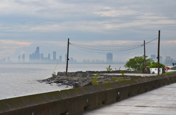 shoreline of Ontario Place, looking west over Lake Ontario to Etobicoke and Mississauga