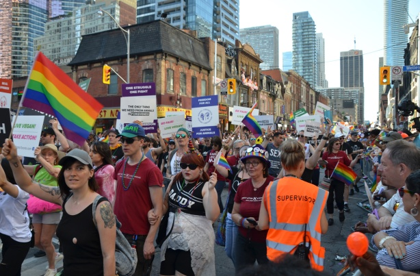 large group of pro vegans walking in a parade