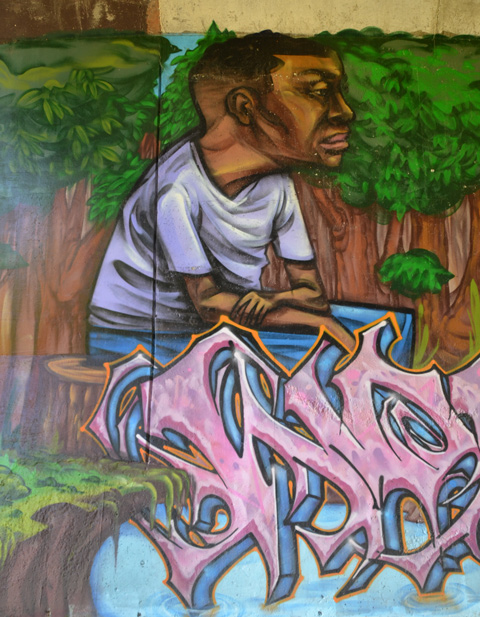 part of an elicser mural beside West Highland Creek, under Lawrence Ave., a man in a white t-shirt sitting beside a tree