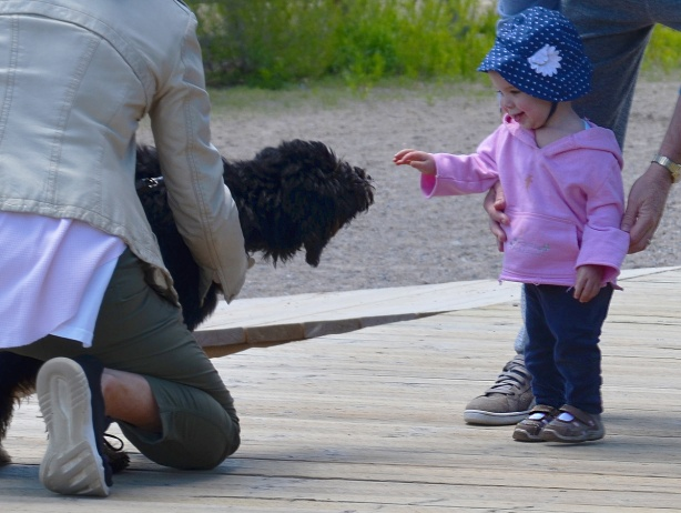 a woman holds her black dog while a girl in pink jacket reaches out to touch it.