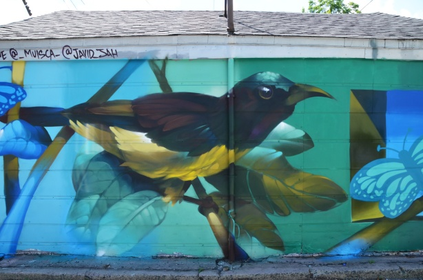 painted mural in a lane, butterflies behind a large bird