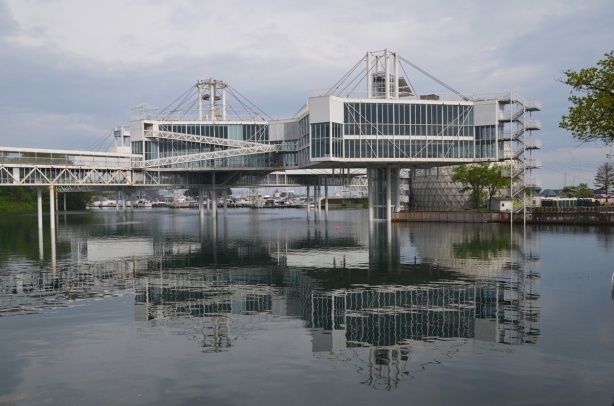 elevated buildings of Ontario Place over the water