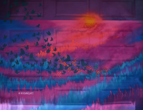 sunset mural in pinks and blues by Roshnisart