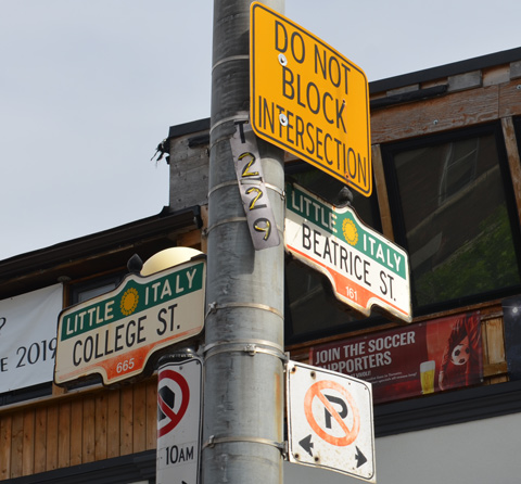 Toronto city street signs on a pole, LIttle Italy College Street and Beatrice Street as well as a yellow do not block intersection sign