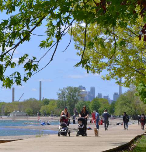 two women push strollers along the boardwalk by Kew Beach, CN tower and Toronto skyline in the distance, other people on the boardwalk and beach too