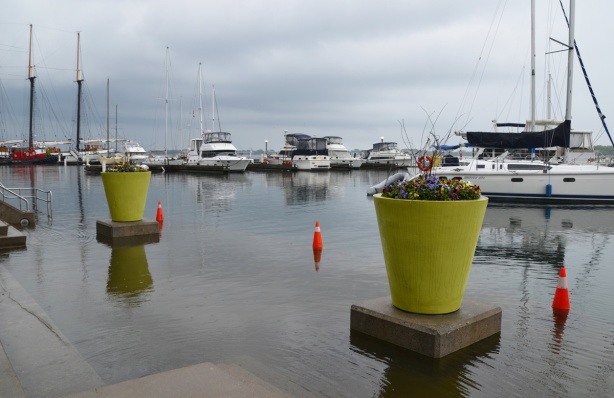 two large light green flower pots sit on concrete pedestals, in the water, orange cones in the water, shoreline is flooded, some sailboats docked in the background