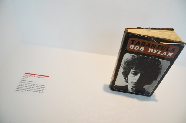 A book by Bob Dylan called Tarantula on display in a museum show