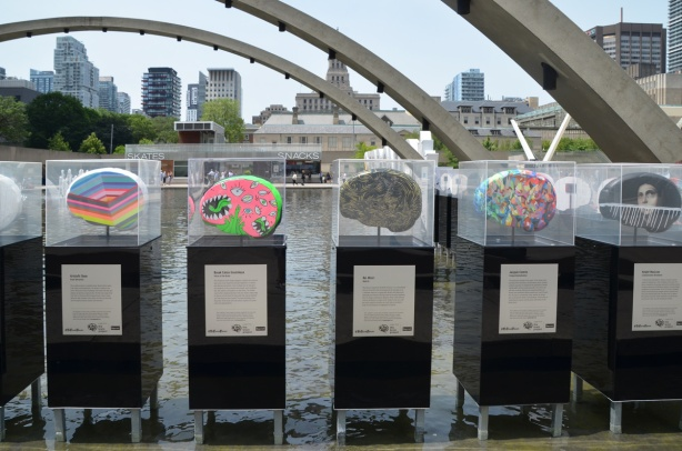 five brain shaped sculptures in plexiglass display boxes standing in the pool at Nathan Phillips Square