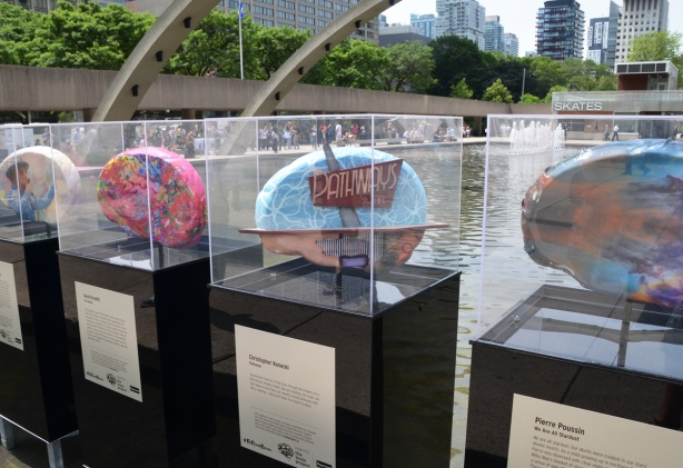brain sculptures on display at Nathan Phillips