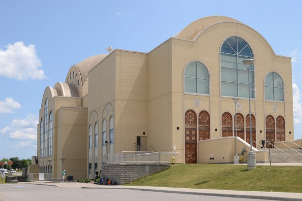 very large pale brown cathedral church, St. Marks Coptic Church, new building,