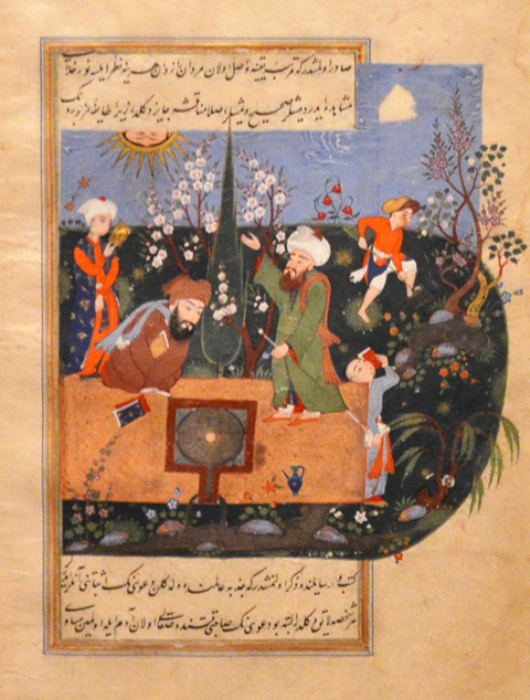 illustrated page, with Arabic text, from an ancient book about stars and legends