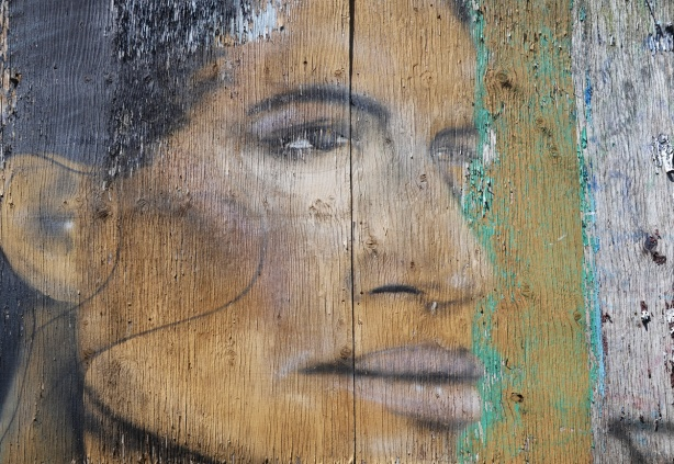 faded, on an old wood fence is a profile picture of a woman that is faded, the wood grain comes through very clearly, some peeling paint on the edges