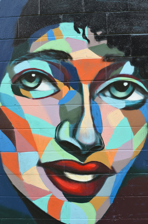 close up of a face in a mosaic like style with shapes of different colours making up the skin, green eyes, red lips, by Philip A. Saunders, called Lovely