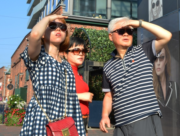 three people looking into the sun. Two are shielding their eyes with their hands, wearing sunglases, looking slightly upwards as if searching for something.