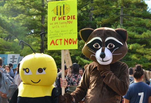 two people in costume, one a bee and one a fox (badger?). They have a yellow sign that says If we die we will take you with us. Act now. at the climate strike rally at Queens Park on a sunny morning in September