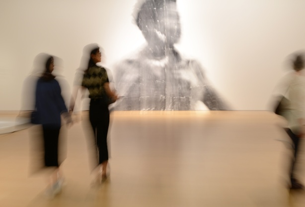 people, out of focus, walking past a large out of focus picture of a woman, a photo by Sandra Brewster as part of her blur series