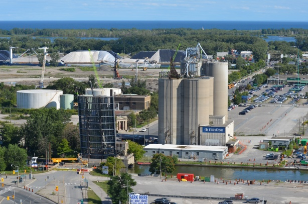 view from above, Cherry street bridge in open position, port lands, cement silos, Lake Ontario, construction