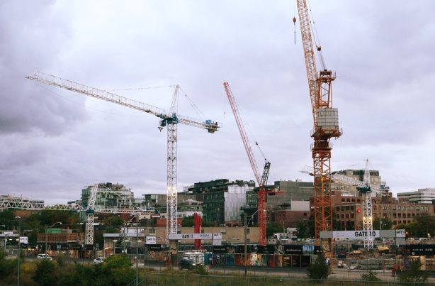 3 cranes at construction site on Front Street where Globe and Mail used to be