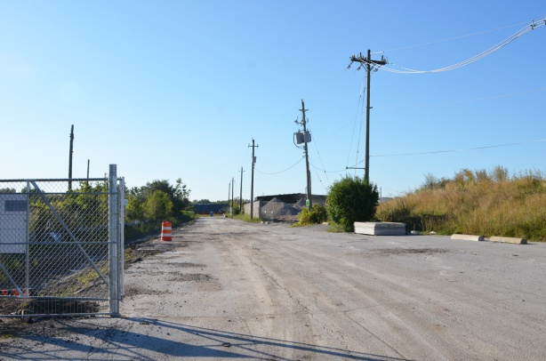 very south end of Don Roadway, south of Commissioners street, dead end, dirt road, no trespassing construction site entry