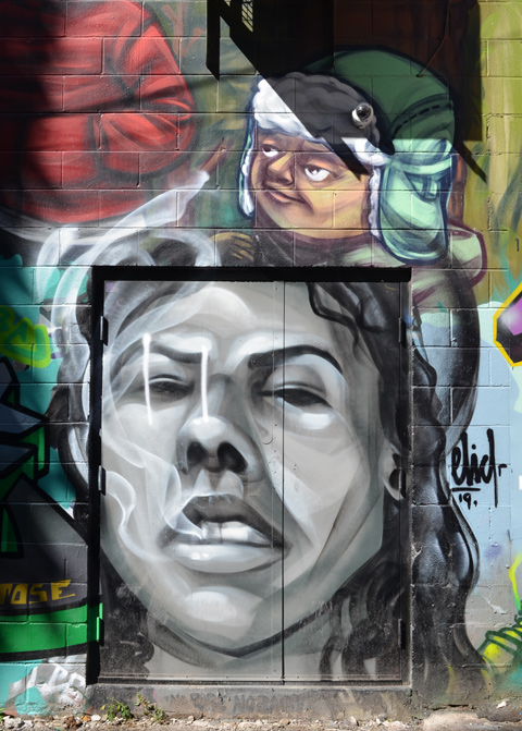 elicser mural on a wall including a door that is painted with a large face in grey tones