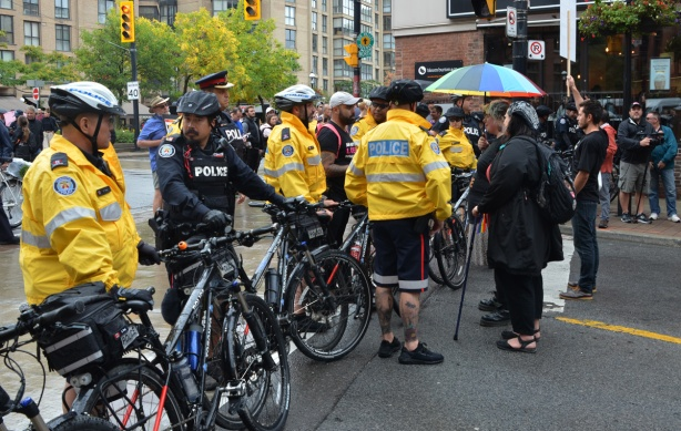 police line of bikes