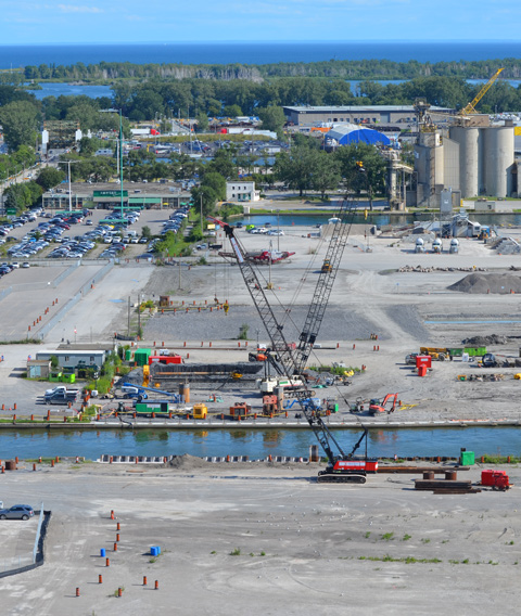 Port Lands from above, Keating Channel, beginning of construction of a new bridge at Cherry street,