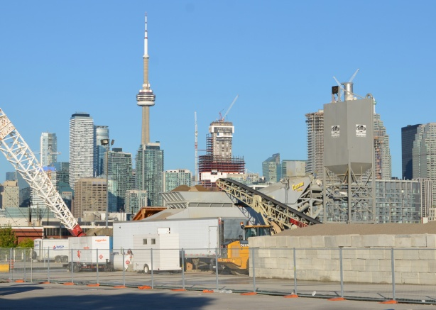 CN Tower and Toronto skyline from Cherry street, T and T market parking lot