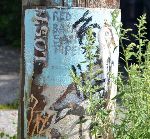 behind tall weeds, a painting on metal attached to a utility pole, painting of a bird, a red back sandpiper