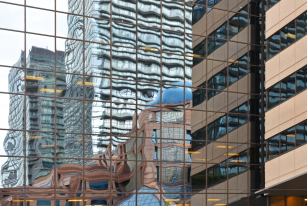 reflections in glass windows downtown