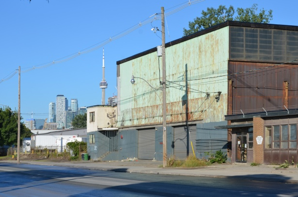old buildings on Villiers Street, with CN Tower in the background