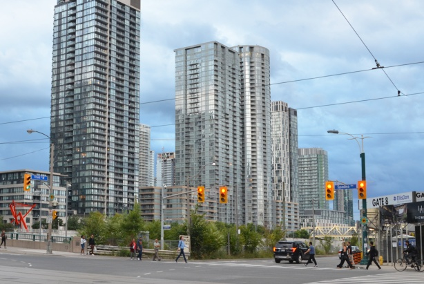 looking southwest at intersection of Spadina and Front, condos