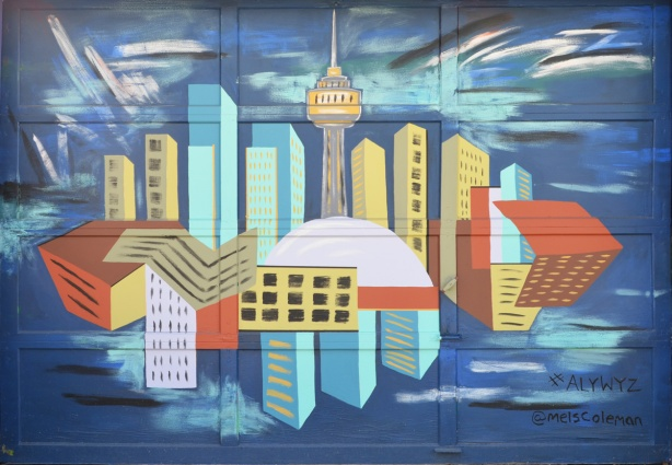 a mural of Toronto skyline reflected in Lake Ontario, stylized, by Mel Coleman in Albert Jackson Lane, painted on a garage door