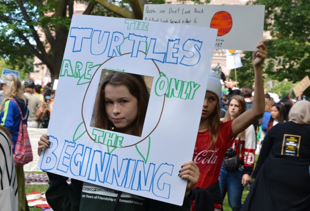 a girl has her face showing through a square hole cut out of a piece of white bristol board, sign saying that the turtles are just the beginning, her face is part of the turtle body
