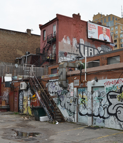 backs of stores on Queen West, covered with graffiti, a ladder to upper floor, brick buildings