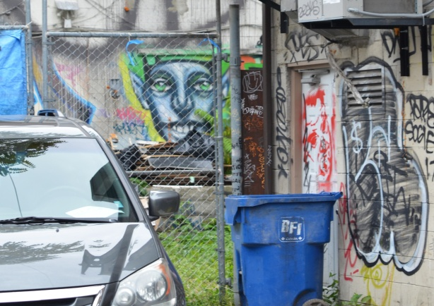behind a chain link fence, viewed from a laneway, a face street art painting by Phillip Saunders