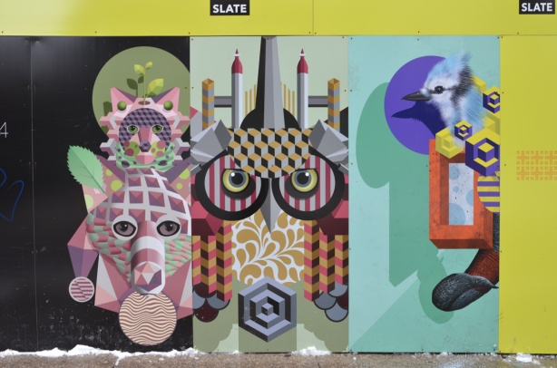 Jerry Rugg, a la , birdo, paintings on construction hoardings, various abstract animal forms, owl, deer
