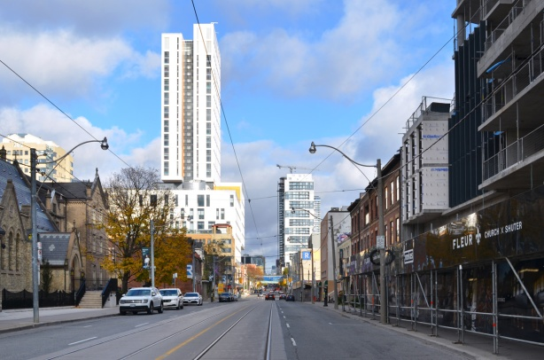 looking north up Church Street from Shuter towards Ryerson University