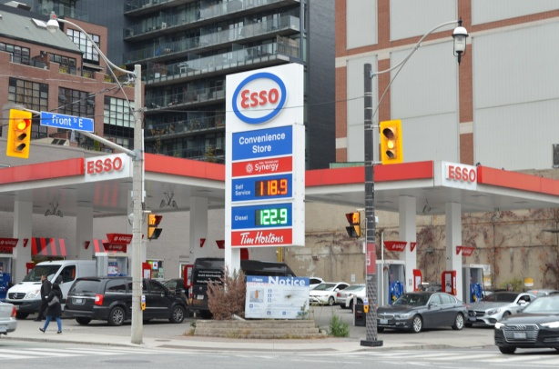 an Esso gas station at the northeast corner of Front and Sherbourne, also a Tim Hortons and a convenience store