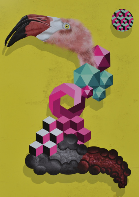 birdo painting on hoardings at a construction site, flamingo head, toucan beak, and lots of cube and other geometric shapes
